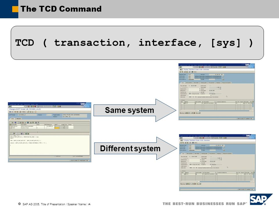TCD ( transaction, interface, [sys] )